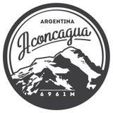 L'Aconcagua insigne extérieur d'aventure dans Andes, Argentine Illustration de haute montagne illustration stock