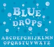 L'acqua cade l'alfabeto Progettazione lucida della carta intestata Fotografie Stock Libere da Diritti