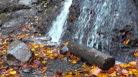 L'acqua colpisce la terra che cade dalle montagne stock footage