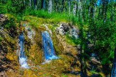 L'acqua corrente, grande collina balza area di ricreazione provinciale, Alberta, Canada immagini stock