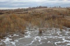 L'acqua della colata della molla del  del  Ñ di Ñ€ÑƒÑ del  di Ñ ha sommerso l'inondazione naturale del paesaggio delle colline immagine stock