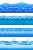 L'acqua di mare blu ondeggia, fondo senza cuciture messo per progettazione del gioco Illustrazione di vettore, isolata su bianco