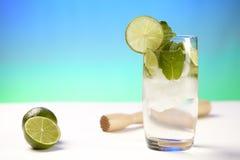 L'acqua minerale con calce, i cubetti di ghiaccio e la menta piperita copre di foglie Fotografie Stock Libere da Diritti