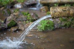 L'acqua naturale sta scorrendo dal tubo di bambù per l'agricoltura Fotografia Stock Libera da Diritti