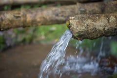 L'acqua naturale sta scorrendo dal tubo di bambù per l'agricoltura Fotografie Stock Libere da Diritti