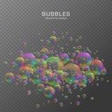 L'acqua variopinta bolle su fondo trasparente con la riflessione insieme Colori del Rainbow Illustrazione di vettore immagini stock