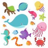 L'acquario dei bambini del fumetto ed insieme selvaggio di vettore dei pesci di mare illustrazione di stock