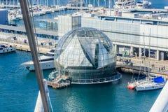 L'acquario di Genova e la vista di biosfera da sopra, l'Italia fotografia stock libera da diritti