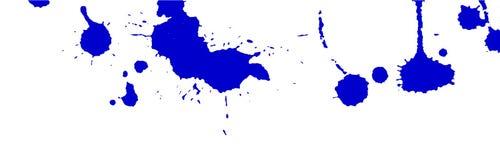 L'acquerello blu spruzza e macchia su fondo bianco Pittura dell'inchiostro Illustrazione disegnata a mano Illustrazione astratta  Fotografia Stock
