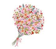 L'acquerello fiorisce il mazzo, su fondo bianco royalty illustrazione gratis