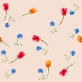 L'acquerello fiorisce il modello senza cuciture Fotografia Stock