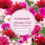 L'acquerello fiorisce la carta del fiore Cartolina d'auguri variopinta d'annata Miscela di estate floreale mazzi della decorazion Fotografie Stock