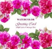 L'acquerello fiorisce la carta del fiore Cartolina d'auguri variopinta d'annata Peonie floreali di estate mazzi della decorazione Fotografie Stock Libere da Diritti