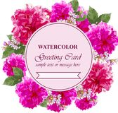 L'acquerello fiorisce la carta del fiore Cartolina d'auguri variopinta d'annata Peonie floreali di estate mazzi della decorazione Immagine Stock