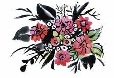 L'acquerello fiorisce nello stile classico su un fondo bianco Fotografia Stock Libera da Diritti