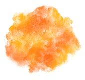 L'acquerello giallo ed arancio macchia il fondo Fotografie Stock