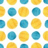 L'acquerello giallo ed il blu circonda il modello senza cuciture Progettazione moderna del tessuto Struttura della carta da imbal royalty illustrazione gratis