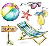 L'acquerello ha messo con il puntatore, palla, stella marina, occhiali da sole, cocktai Fotografia Stock