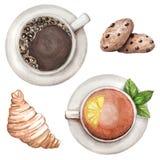 L'acquerello ha messo con tè e caffè, biscotti, croissant illustrazione vettoriale