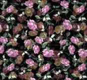 L'acquerello ha messo a strati il fondo senza cuciture della carta da parati di arte rosa del fiore dell'estratto Immagini Stock