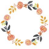 L'acquerello lascia a festival del raccolto di Autumn Fall Hand Painted Frame la corona arancio del fogliame Illustrazione di Stock