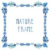L'acquerello lascia a vettore la struttura blu con testo scritto a mano Fotografie Stock