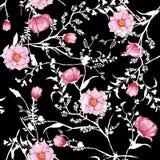 L'acquerello rosa di fioritura del modello senza cuciture floreale fiorisce botanico illustrazione vettoriale