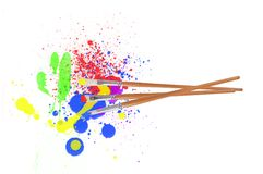 L'acquerello spruzza e spazzole sul bianco Fotografia Stock