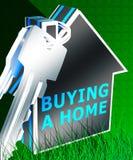 L'acquisto della casa significa la rappresentazione di Real Estate 3d Immagini Stock Libere da Diritti