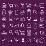 L'acquisto e la vendita al dettaglio hanno collegato le icone messe illustrazione vettoriale