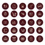 L'acquisto e la vendita al dettaglio hanno collegato le icone messe Immagine Stock Libera da Diritti