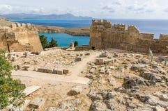 L'acropoli di Lindos immagini stock