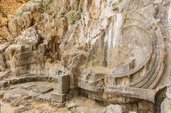 L'acropoli di Lindos - una nave scolpita nella roccia fotografia stock libera da diritti