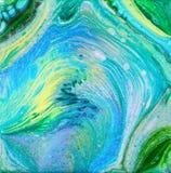 L'acrylique bleu et vert versent la peinture illustration stock