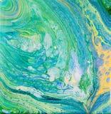 L'acrylique bleu et vert versent la peinture illustration de vecteur