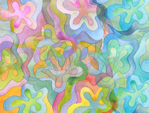 L'acrylique et l'aquarelle abstraits balayent le fond peint par courses Photo stock