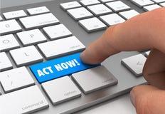 L'acte boutonnent maintenant l'illustration du concept 3d illustration libre de droits