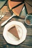 L'acte délictuel de chocolat de portion, vintage tonned l'effet Photographie stock libre de droits