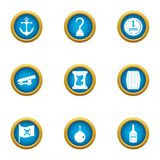 L'acte des icônes de piraterie a placé, style plat illustration de vecteur