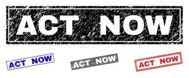 L'ACTE grunge a maintenant donné à des timbres une consistance rugueuse de rectangle illustration de vecteur