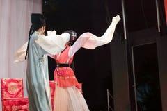 L'acteur et l'actrice étreignent, les distillateurs jinyuliangyuan d'opéra taiwanais photographie stock libre de droits