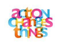 L'ACTION CHANGE l'affiche de typographie de CHOSES illustration libre de droits