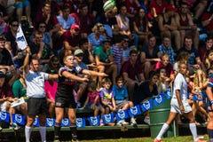 Rugby Outeniqua de rentrée en touche de boule de joueur Images stock