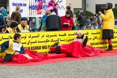 L'action ( ; faim strike) ; Dissidents iraniens images libres de droits