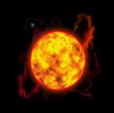 L'activité ensoleillée, tempête ensoleillée, flashes, une planète est la terre Image libre de droits
