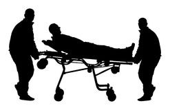 L'addestramento del pronto soccorso, aiuto dopo il trasporto di incidente di arresto ha danneggiato la persona I paramedici evacu illustrazione vettoriale