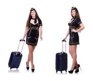 L'addetto di viaggio della donna con la valigia su bianco Fotografia Stock Libera da Diritti