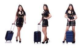 L'addetto di viaggio della donna con la valigia su bianco Immagine Stock