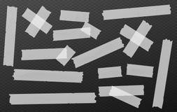 L'adesivo bianco, appiccicoso, mascherante, nastro di condotta spoglia i pezzi per testo sul fondo nero di forme di rettangolo illustrazione vettoriale