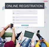 L'adhésion d'inscription en ligne suivent le concept images stock